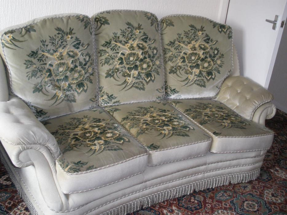 Three 3 Piece Suite Sofa Two Chairs And Footstool With