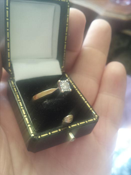 18 Carat Rose Gold: 18 Carat Gold, 1/2 Carat Diamond In A Square Platinum