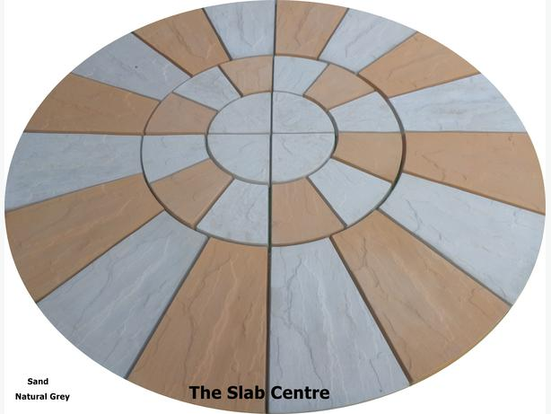 1.8 metre grey & sand riven rotunda patio circle