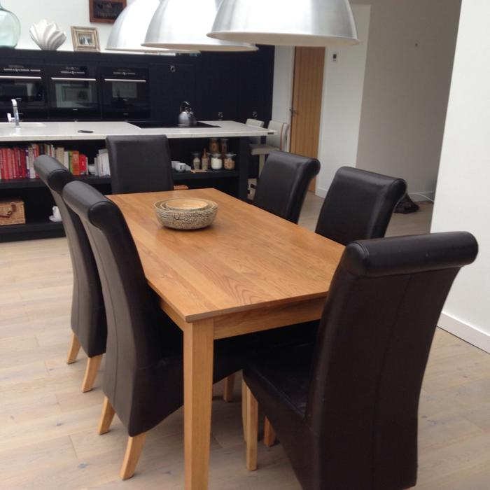 solid oak dining table and 6 leather chairs Stourbridge  : 104505650934 from www.usedwolverhampton.co.uk size 700 x 700 jpeg 42kB