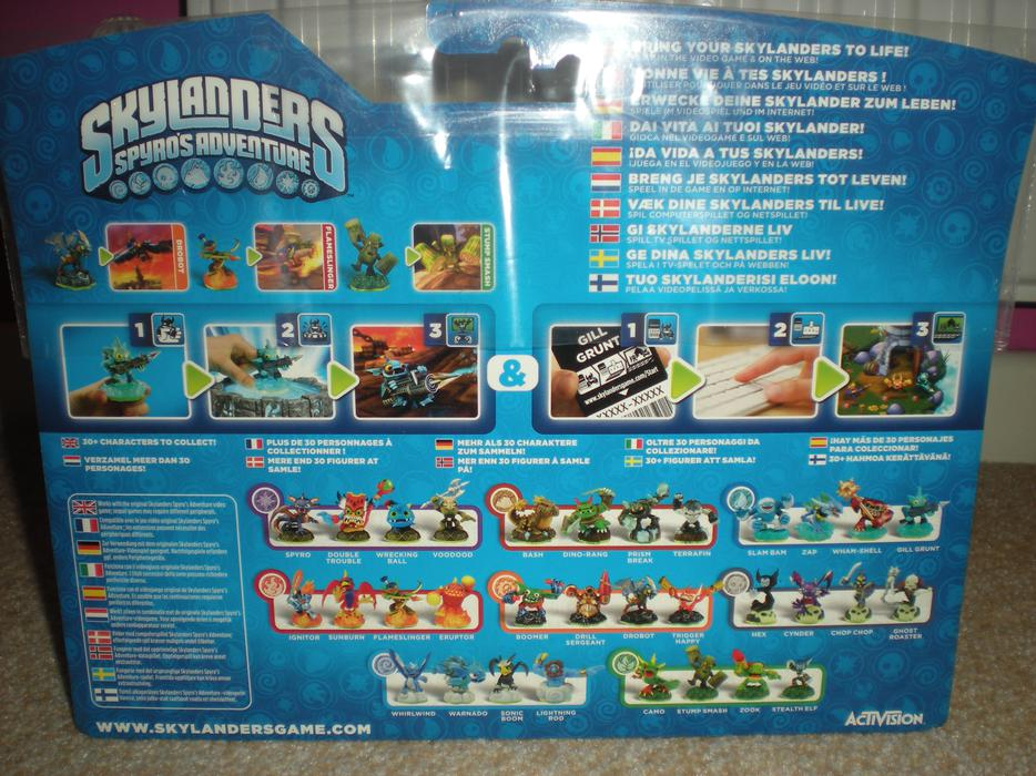 The figurines of your collection synch with the game via the peripheral to battle KAOS and his minions Starter pack includes: a game copy, 3 Skylanders(Starter Pack includes Spyro, Trigger Happy, and Gill Grunt), 'Portal of Power' peripheral, character poster, trading cards, sticker sheet, web codes .