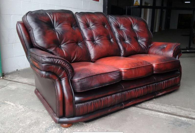Vintage 3 Piece Oxblood Red Leather Chesterfield Sofa Set