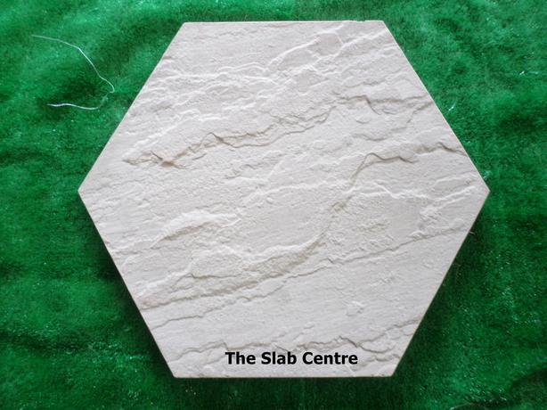 Hexagon Slabs Stepping Stones Riven Effect 450mm