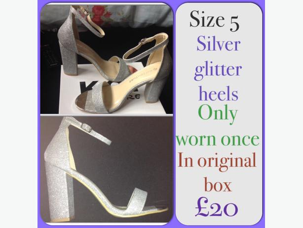 silver chunky heel