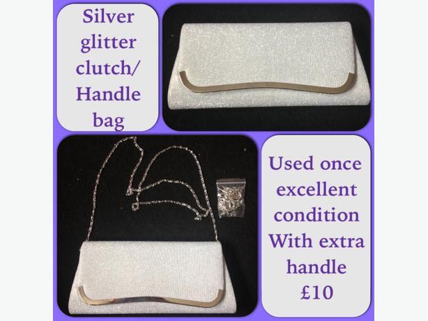 silver clutch/handle bag