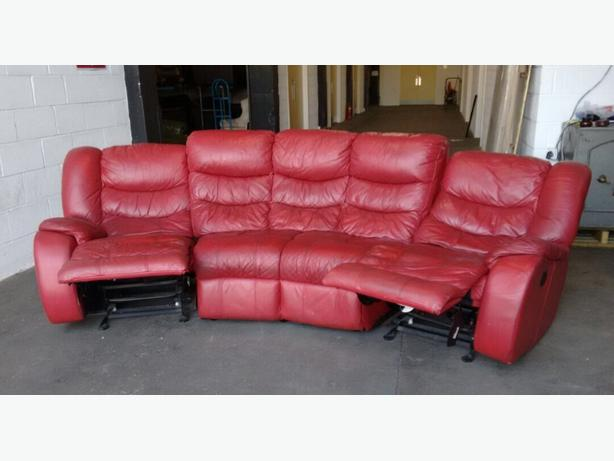 Red leather curved corner recliner rocker sofa we deliver for Curved leather sectional sofa uk