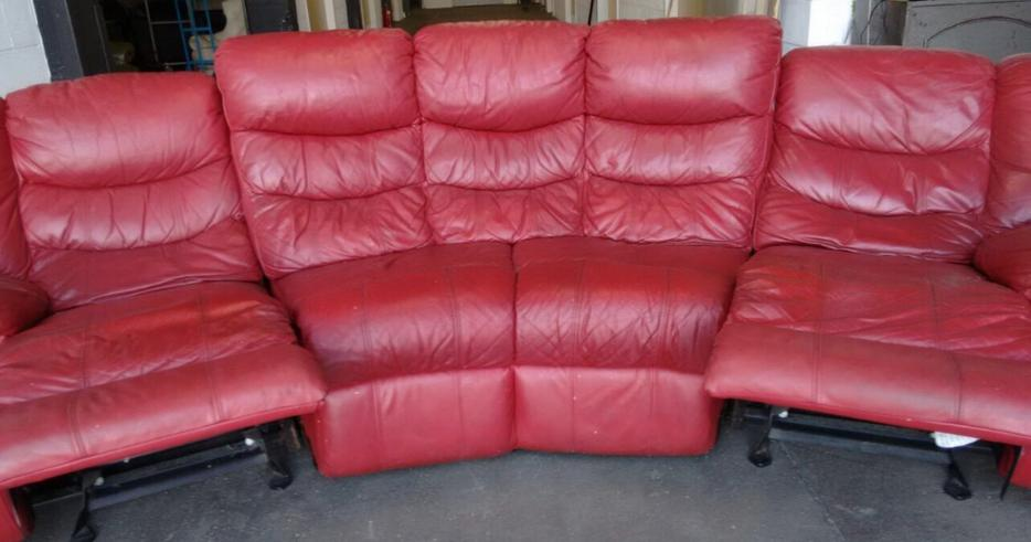 Red Leather Curved Corner Recliner Rocker Sofa We Deliver