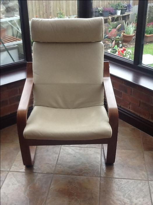 ikea cream leather poang chair and footstool kingswinford