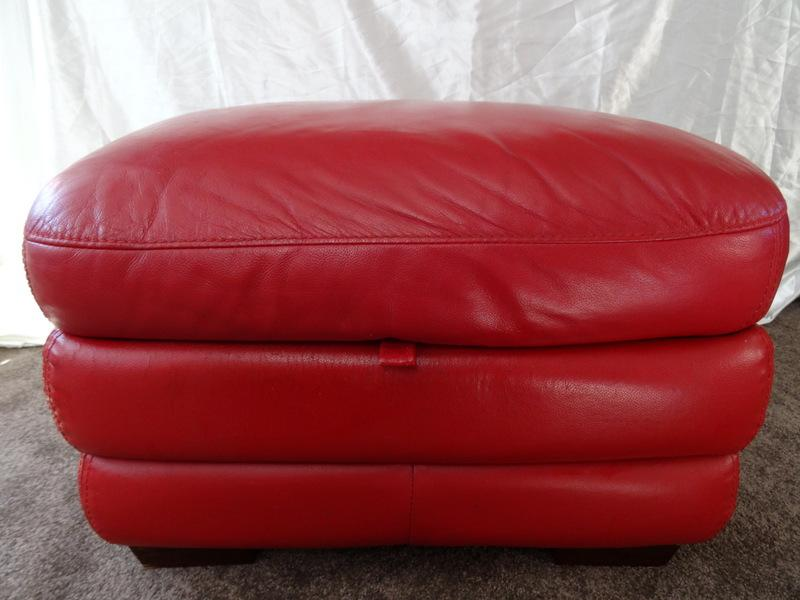 Luxury Leather Curved Footstool Ottomon Oxblood Red