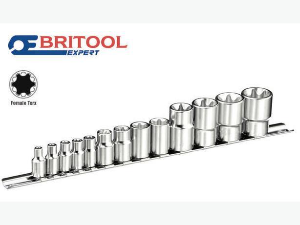 """BRITOOL EXPERT 1/4"""",3/8"""",1/2"""" Female E Torx TRX Socket Set E4-E24 E034801B"""