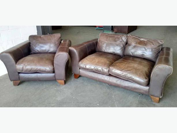 £1000 Thick Soft Brown Leather 2pc Sofa Set WE DELIVER UK Smethwick ...