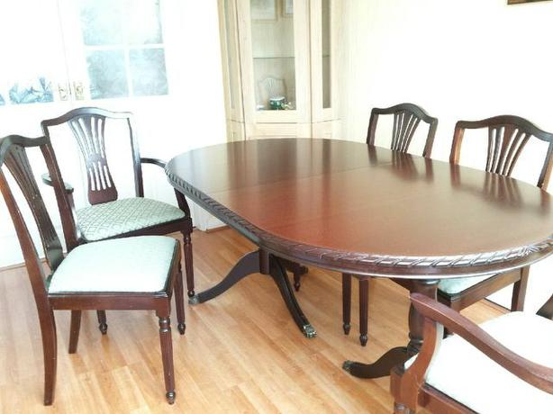 mahogany dining room table and 6 chairs immaculate condition 100