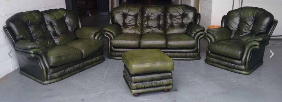 u00a32700 Thomas Lloyd Chesterfield Green Leather 4pc Sofa Set WE DELIVER UK Smethwick, Dudley