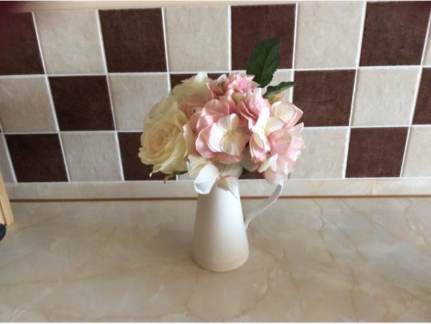PEONY SILK  flowers in Ceramic cream jug