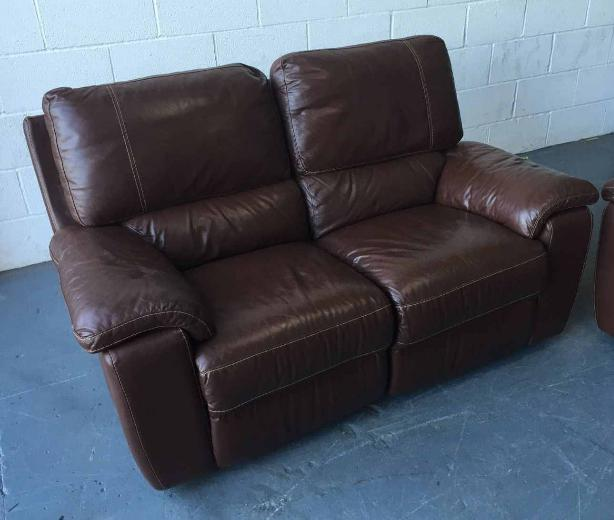 Leather Electric Recliner Sofa Uk: £1800 Brown Leather Electric Recliner 3&2 Sofa Set WE