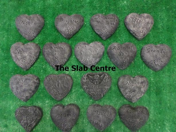 Concrete Memorial Heart Plaques