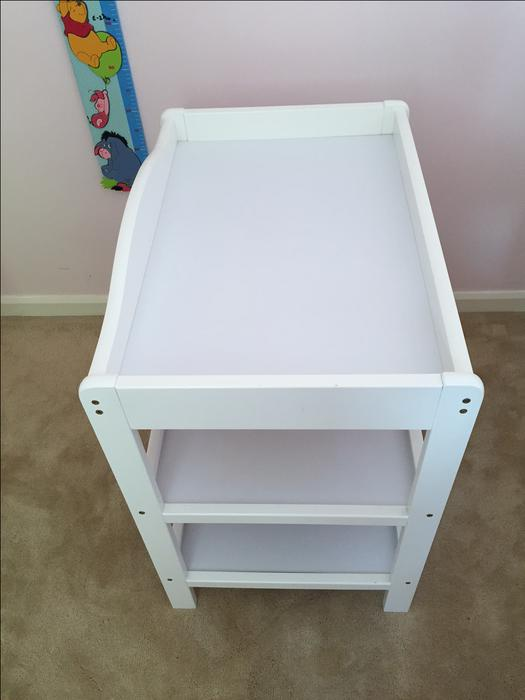 Baby changing table white extra shelf space for nappies wipes etc stourbridge wolverhampton - Changing table for small spaces gallery ...