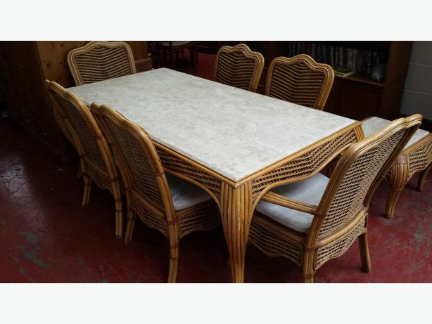 Dining table 6 chairs plus small table brierley hill dudley for Table a manger plus 6 chaise