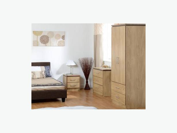 CHARLES 3 PIECE BEDROOM SET  OAK EFFECT VENEER WITH WALNUT TRIM