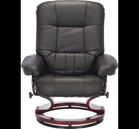 Santos Leather Effect Recliner Chair and Footstool - Black Bilston Wolverh&ton : santos recliner chair - islam-shia.org