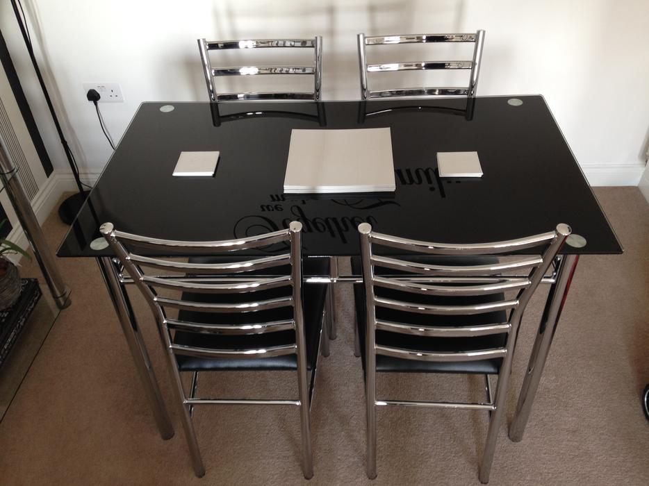 Black Glass Dining Table amp 4 Chairs Bloxwich Wolverhampton : 104778158934 from www.usedwolverhampton.co.uk size 934 x 700 jpeg 78kB