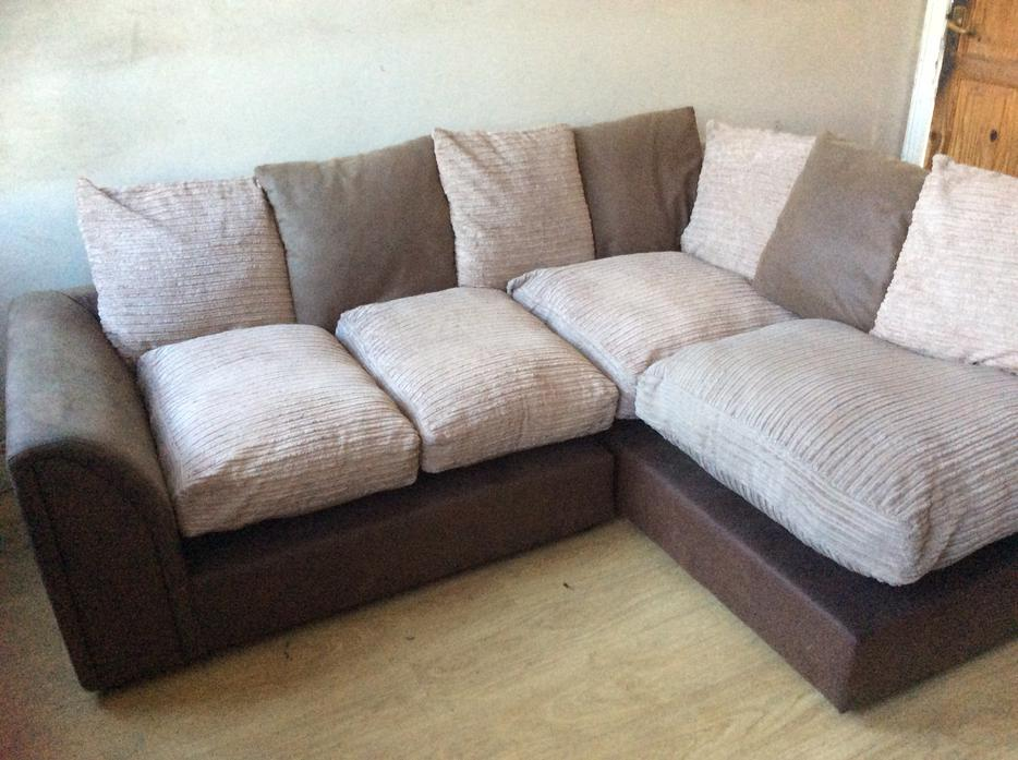 Brown suede and beige fabric corner sofa for sale for Fabric couches for sale