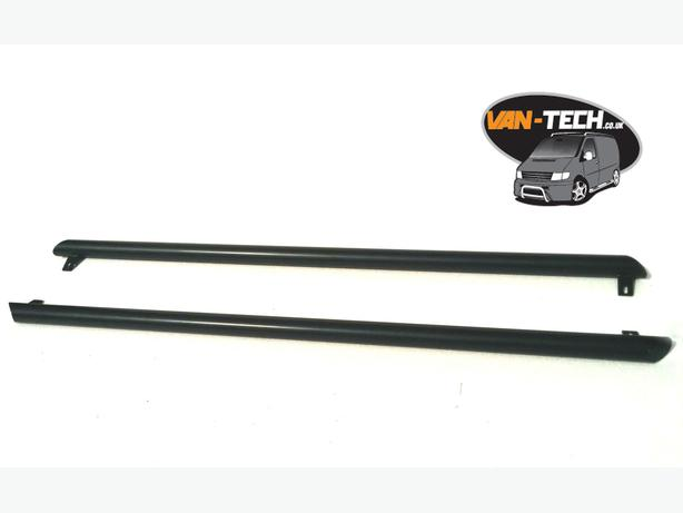Black slash cut side bars for VW Volkswagen Transporter T5 Vans made in the UK