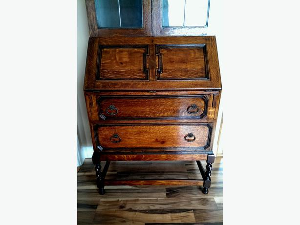 Grand dark oak bureau with bookcase top dudley dudley for Grand bureau