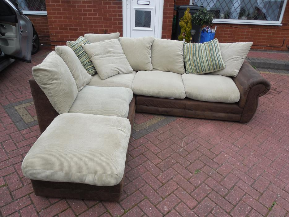 brown suede leather sofa footstool for sale brierley hill dudley mobile. Black Bedroom Furniture Sets. Home Design Ideas