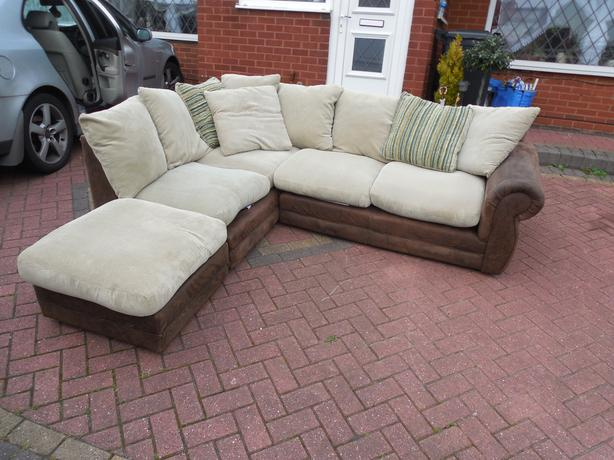 Brown suede leather sofa footstool for sale brierley hill for Suede couches for sale