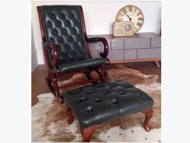 we deliver vintage chesterfield rocking slipper armchair with a free footstool smethwick. Black Bedroom Furniture Sets. Home Design Ideas