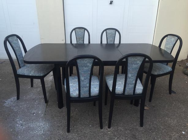 Solid Wood Black Dining Table And 4 Or 6 Chairs Set