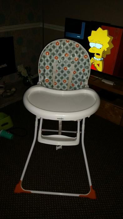 It was a little tricky at the time, and if we'd thought in advance we might have purchased a second folding high chair to take with us for babysitters to use. If you like, purchase a larger one for home and a portable, inexpensive one to let your babysitter use.