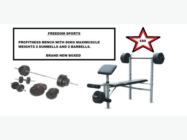 profitness bench with 60kg maximuscle weights 2 dumbells ...