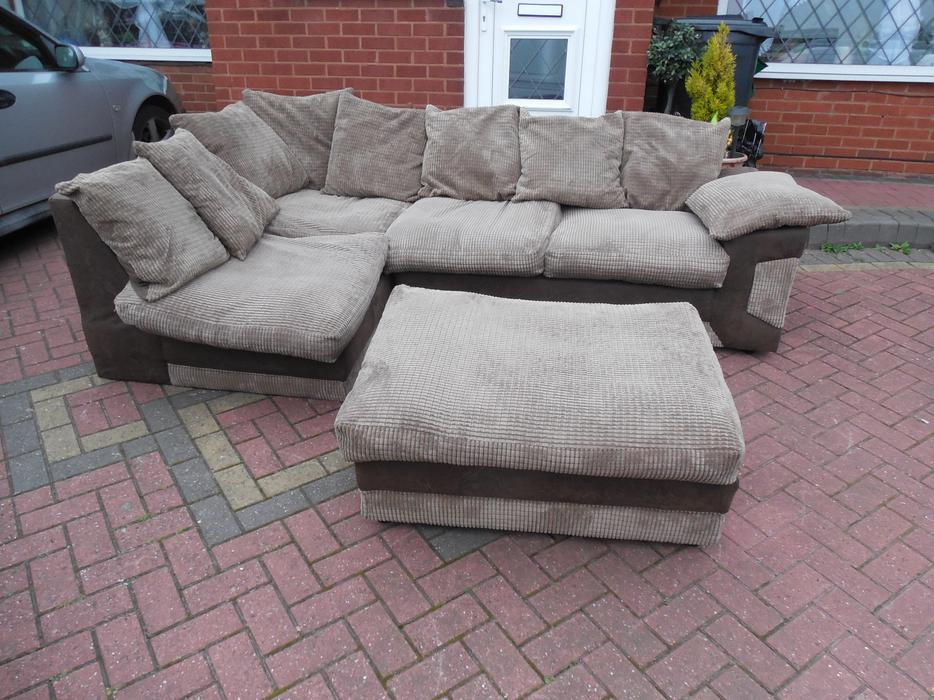 Brown suede leather sofa footstool for sale sedgley dudley for Suede couches for sale