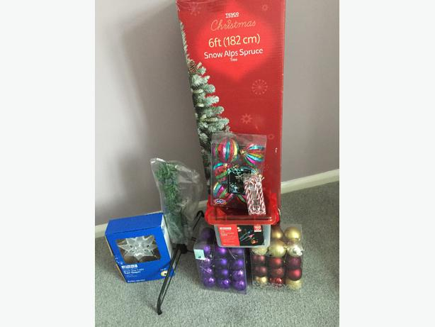 6ft snow alps christmas tree complete set up lights decorations and more brownhills - Great christmas ornaments that you need for your home ...
