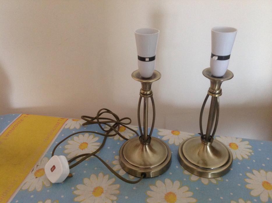 Brass Pair Of Side Table Lamps Outside Black Country