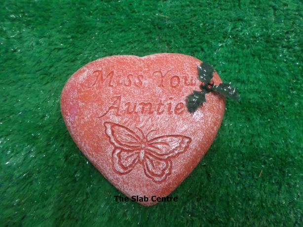 RED CHRISTMAS Memorial Hearts Stone Plaques Gravemarker