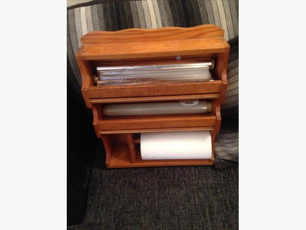 7 Wooden Kitchen Roll Foil And Cling Film Holder