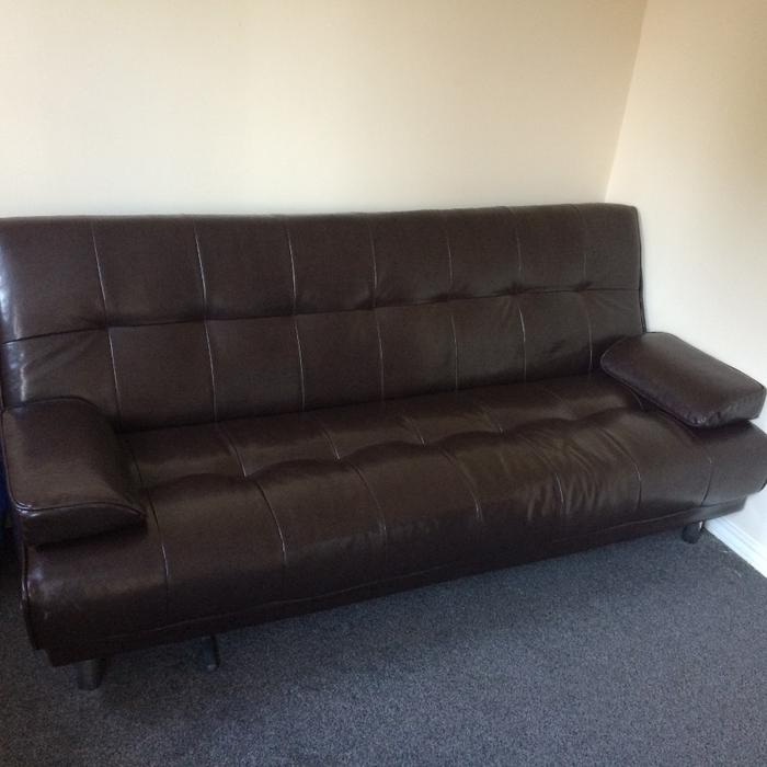 Brown leather sofa bed wolverhampton wolverhampton for Used leather sectional sleeper sofa