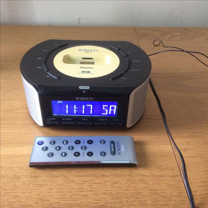 roberts dab digital radio alarm clock with ipod dock. Black Bedroom Furniture Sets. Home Design Ideas