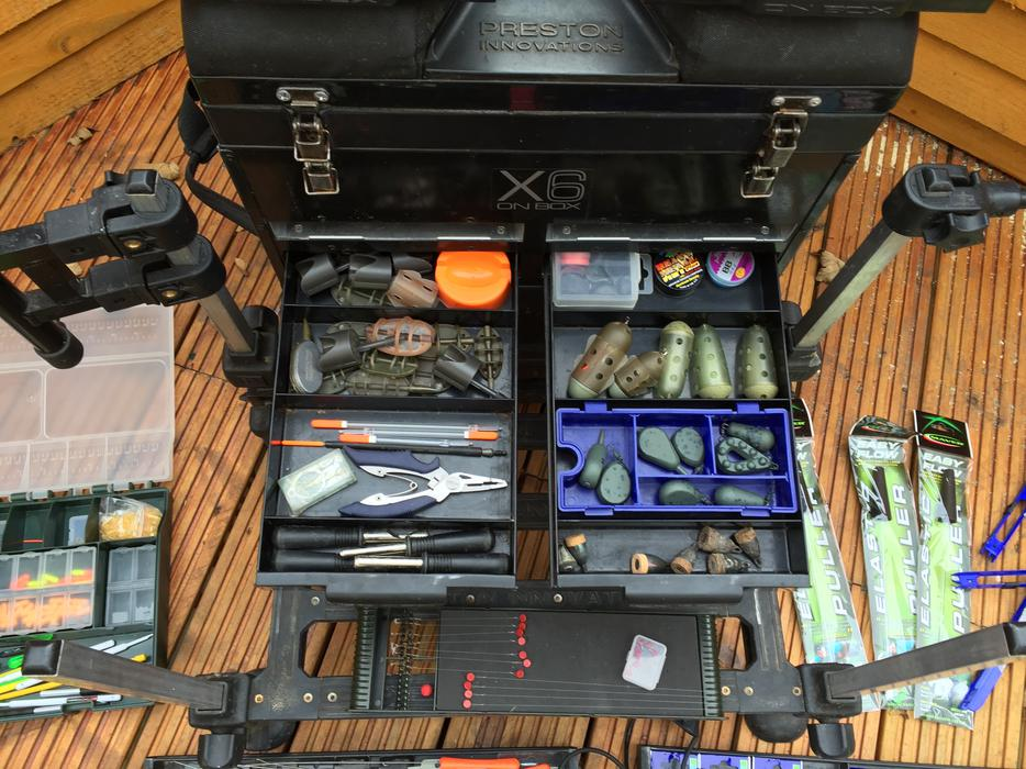 £250 · PRESTON X6 SEAT BOX FULL OF TACKLE