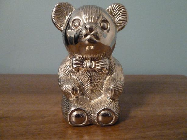 VINTAGE  SILVER PLATED BEAR BANK
