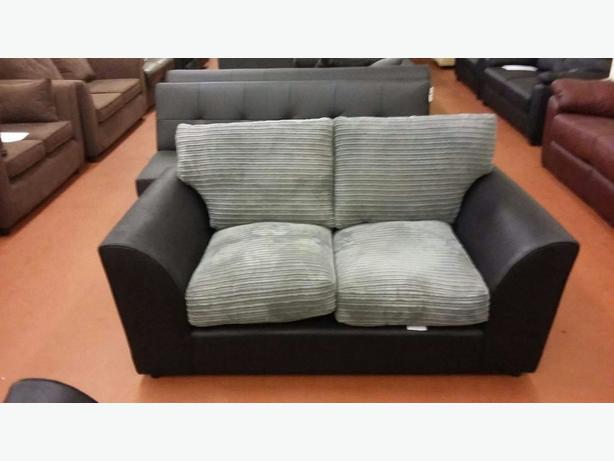 bailey large jumbo cord leather effect sofa charcoal bilston dudley. Black Bedroom Furniture Sets. Home Design Ideas