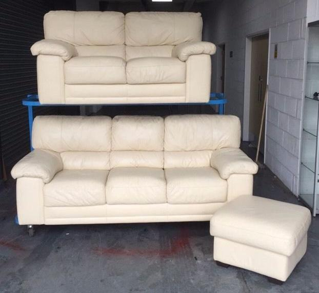 Leather Sofas At Dfs: £1200 DFS Cream Leather 3pc Sofa Set WE DELIVER UK WIDE