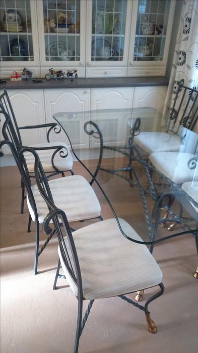 Glass dining table and 6 chairs WOLVERHAMPTON Dudley : 104890067934 from useddudley.co.uk size 393 x 700 jpeg 41kB