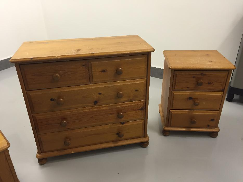 Pine set of drawers bedside cabinet and blanket chest