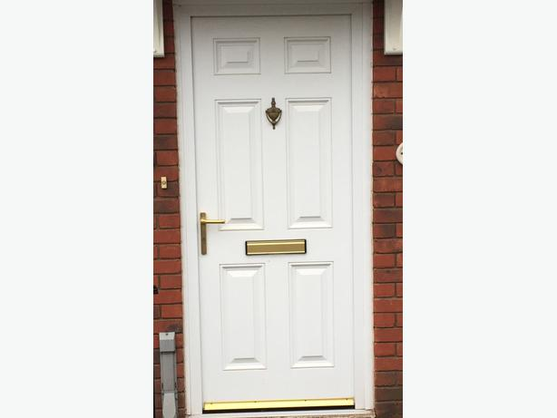 White wood grain upvc door and frame with gold coloured for Coloured upvc doors