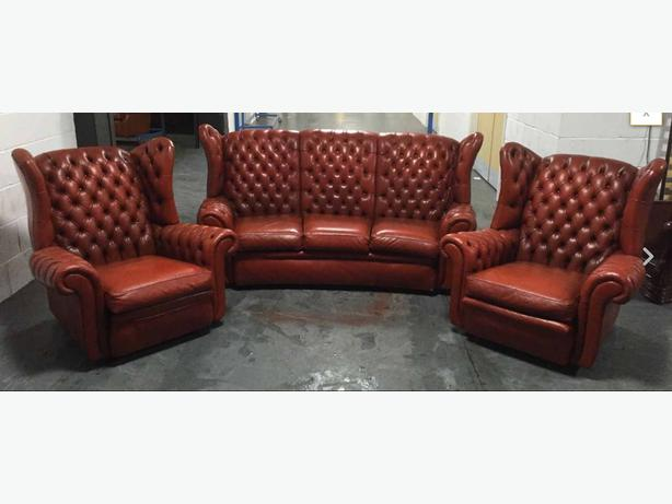 burnt orange leather wingback chesterfield 3pc sofa set we
