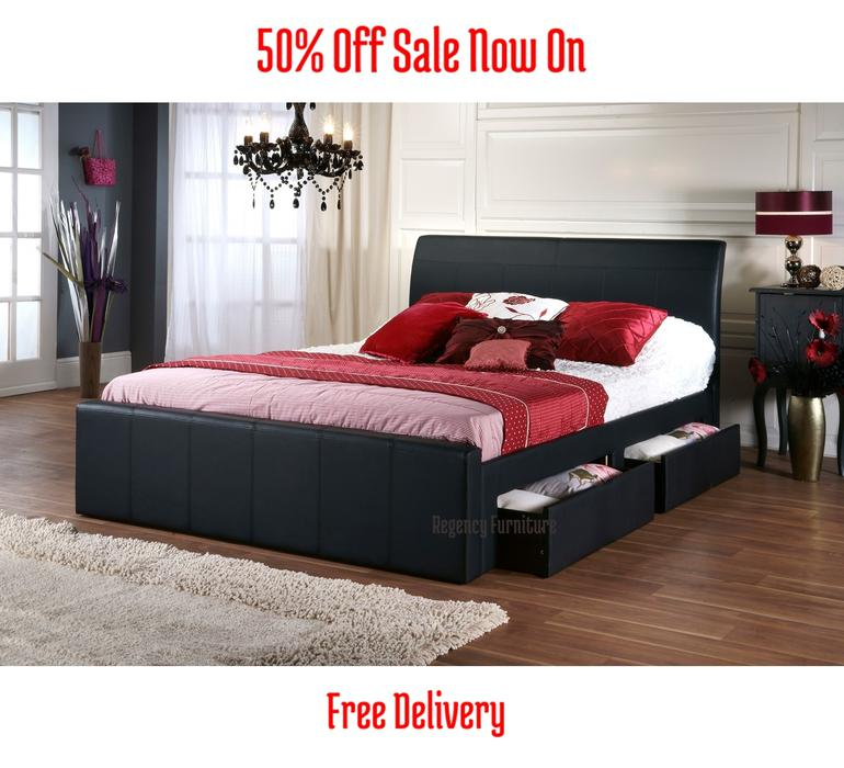 The brooklyn faux leather bed frame double 4396quot in black for Brooklyn bedding sale